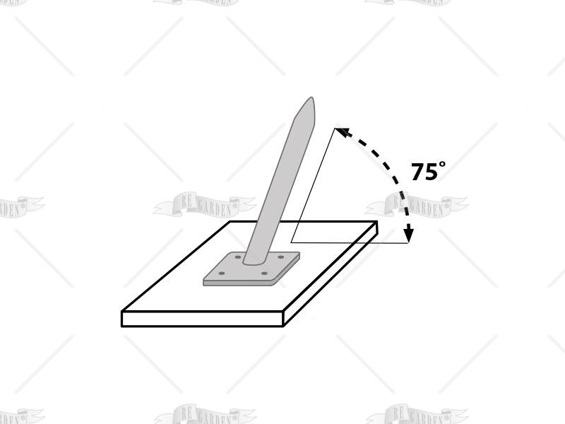 Base per fissaggio su cemento a 75° - 1
